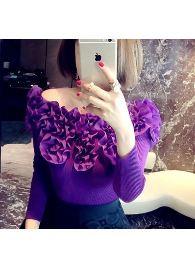 Floral Boat Neck Knitted Top - KP001459