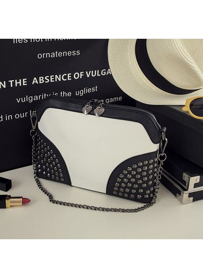 Cute Studded Party Bag Black n white - KP001463