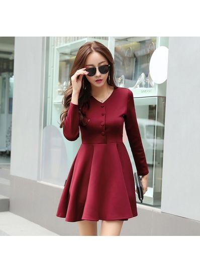 Button Design Long Sleeve Dress - KP001511