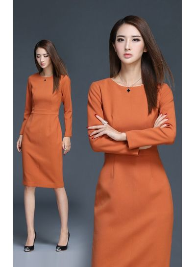 High Quality Fitted Orange Dress - KP001514