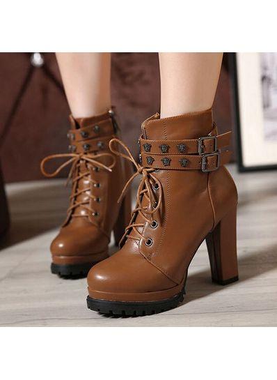 Zip Lace Up Boots - KP001524