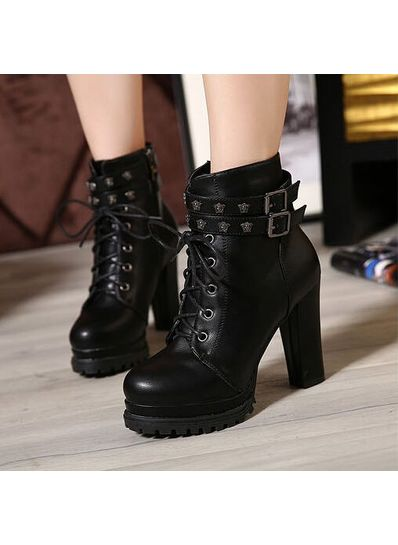 Zip Lace Up Boots - KP001525