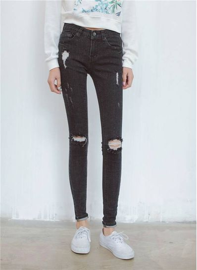 Bleach Wash Denim Jeans - KP001546