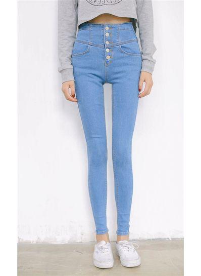 High Waist Denim Jeans -Light Blue - KP001548