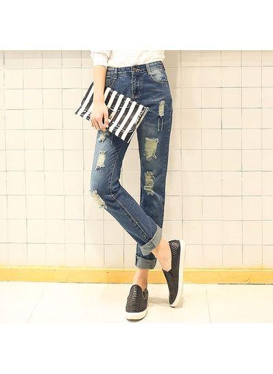 Ripped Denim Jeans - KP001550