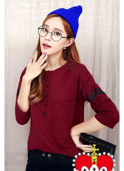 Button Design Long Sleeve T-shirt - KP001578