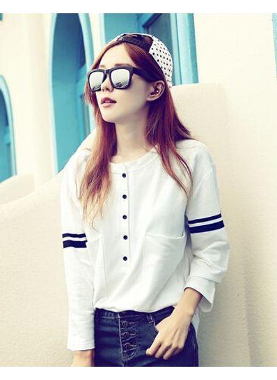 Button Design Long Sleeve T-shirt - KP001580