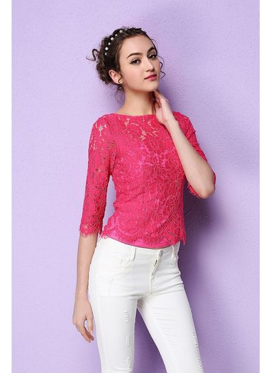 Cute Lace Blouse Rose Red- KP001584