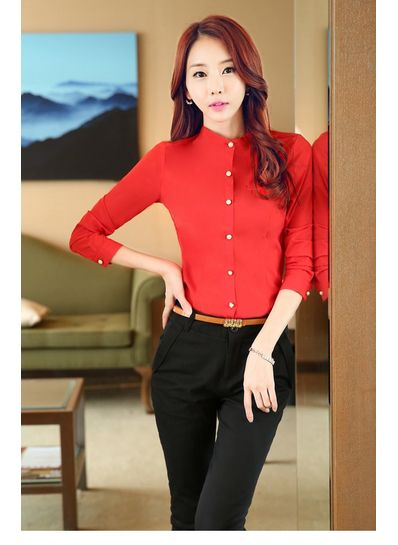 Pearl Decorated Chiffon Blouse Red - KP001586