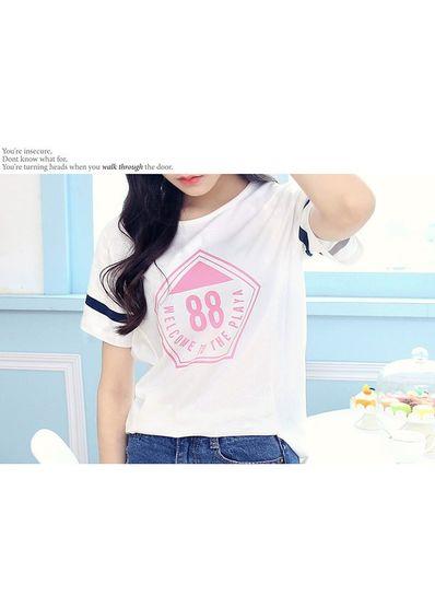 Number Print Cotton T-shirt - KP001589
