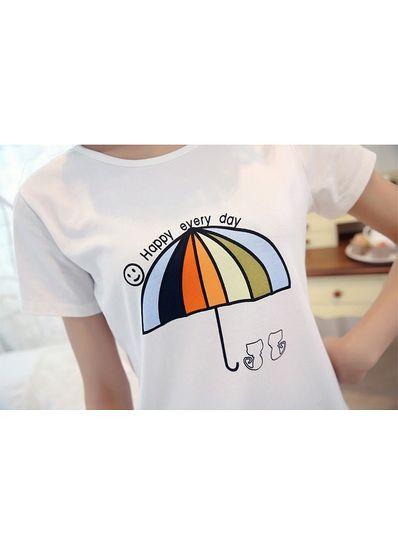 Umbrella Print Cute T-shirt - KP001594