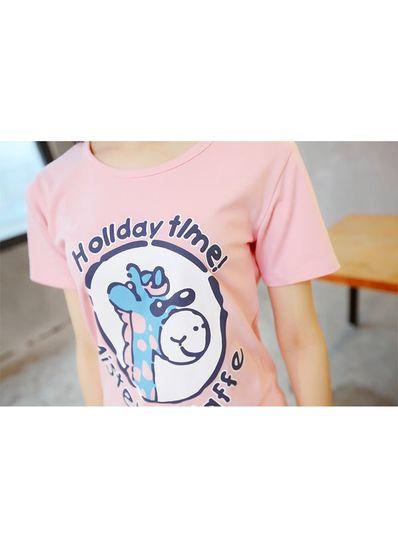 Giraffe Print Pink T-shirt - KP001599
