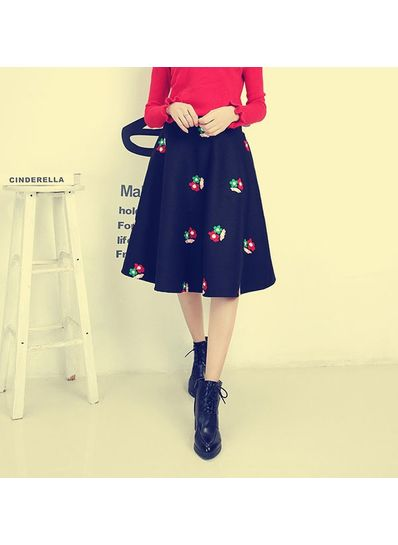Embroidery Floral Print Skirt - KP001645