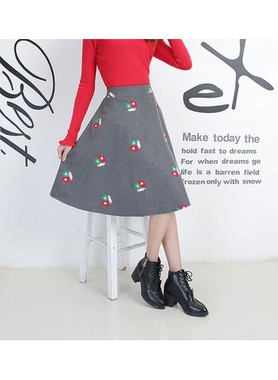 Embroidery Floral Print Skirt - KP001646