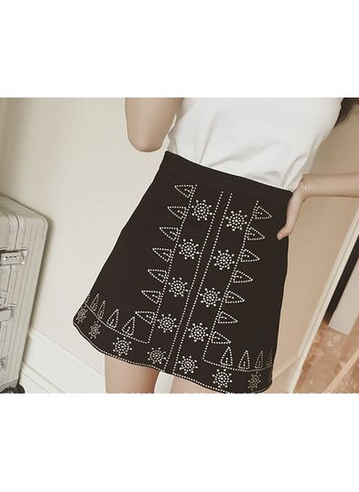 Embroidery A-Line Skirt - KP001647