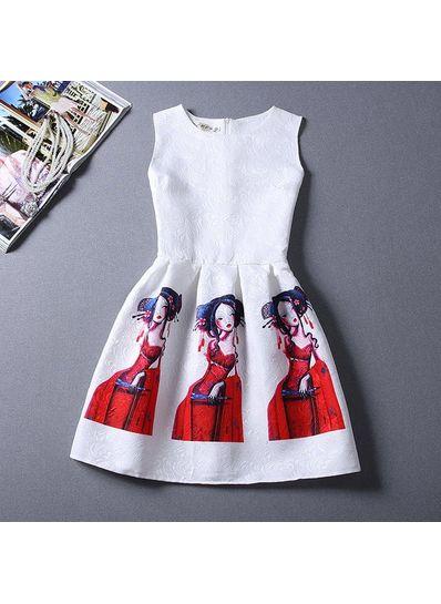 Cute Printed Summer Dress - KP001648