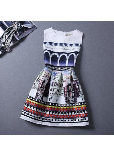 Cute Printed Summer Dress - KP001649