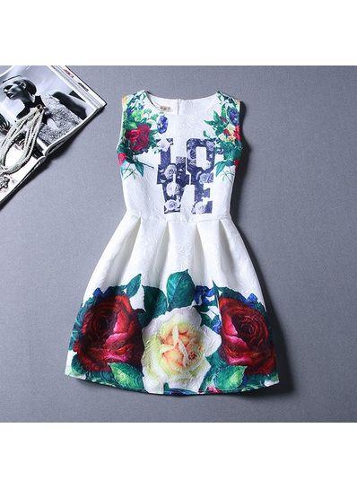 Cute Printed Summer Dress - KP001651