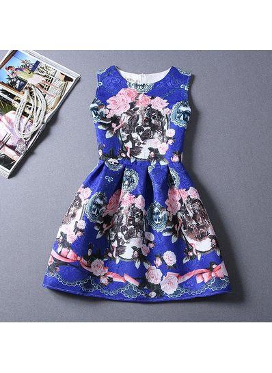 Cute Printed Summer Dress - KP001654