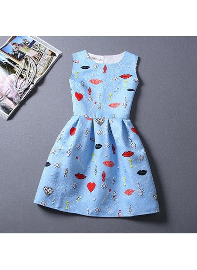 Cute Printed Summer Dress - KP001657