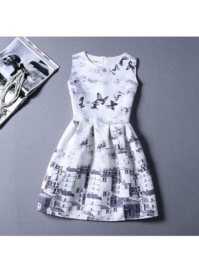 Cute Printed Summer Dress - KP001660