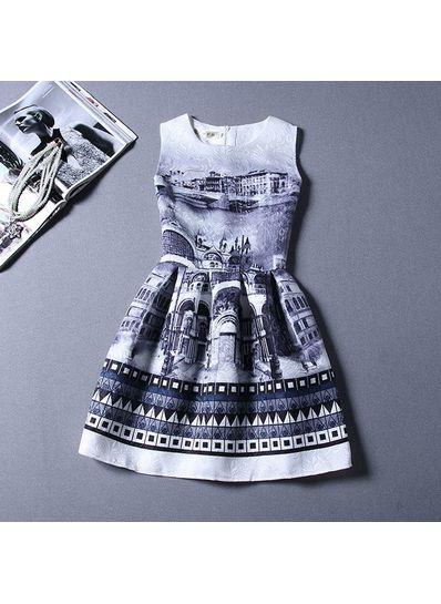 Cute Printed Summer Dress - KP001663