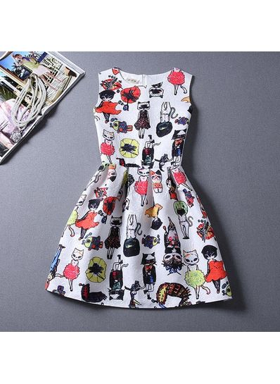 Cute Printed Summer Dress - KP001670