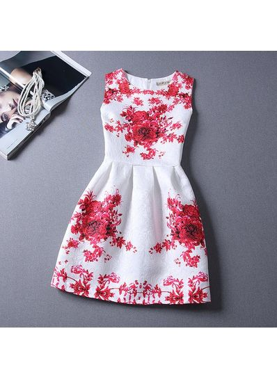 Cute Printed Summer Dress - KP001671
