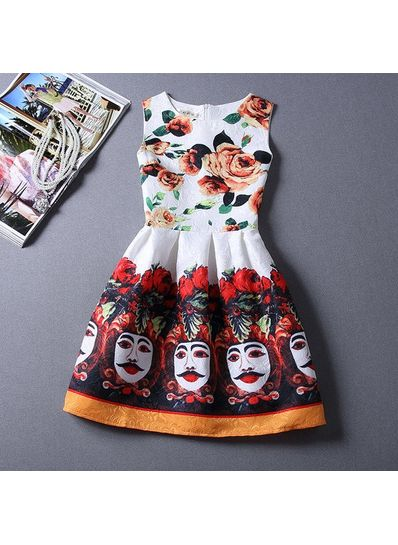 Cute Printed Summer Dress - KP001672