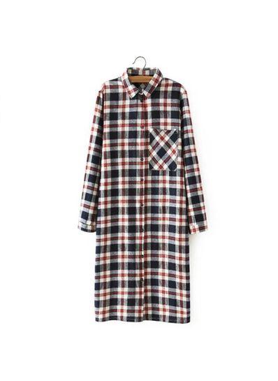 Plaid Long Shirt Dress - KP001700