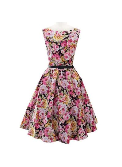 Cute Floral Dress with Belt - KP001711
