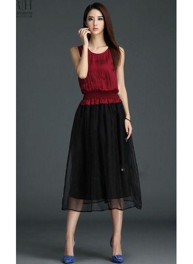 Wine Red Gauze Maxi Dress - KP001713