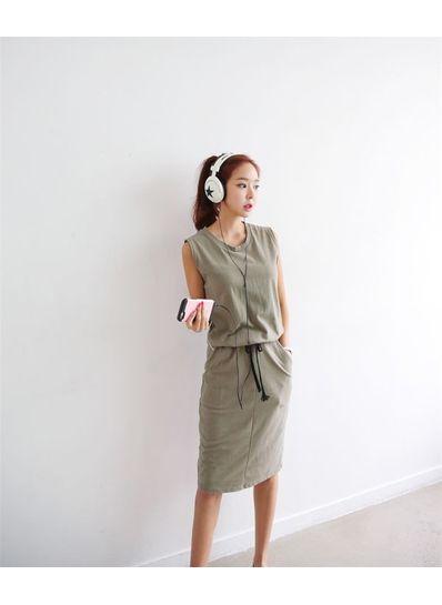 Korean Style Sleeveless Dress - KP001718