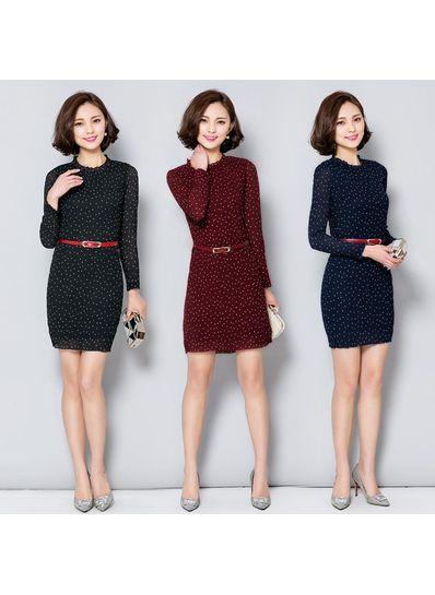 High Quality Polka Dot Chiffon Dress With Belt - KP001725