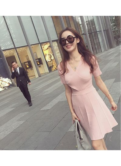 Short Sleeve Knitted Dress in 3 Colors - KP001727