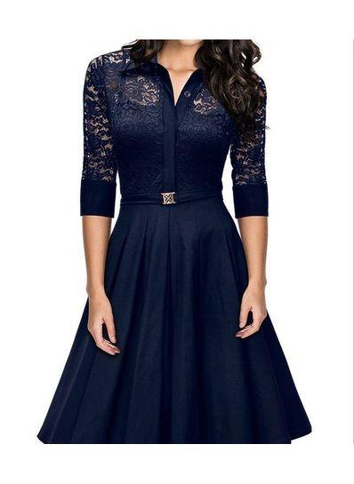 Cute Mid Calf 3/4 Sleeve Dress - KP001731