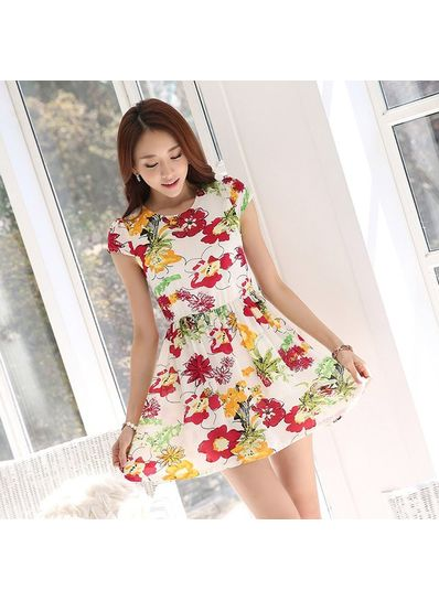 Cute Floral Chiffon Dress in 2 Colors - KP001734