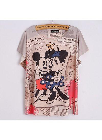 Cute Micky & Minnie Printed Tee - KP001758
