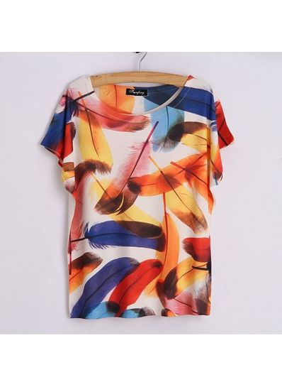 Colorful Feather Printed Tee - KP001768
