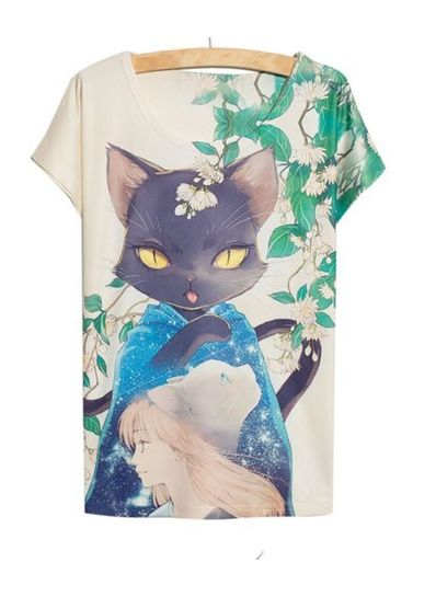 Cat Printed Tee - KP001770