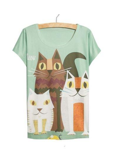Lovely Cat Printed Tee - KP001771