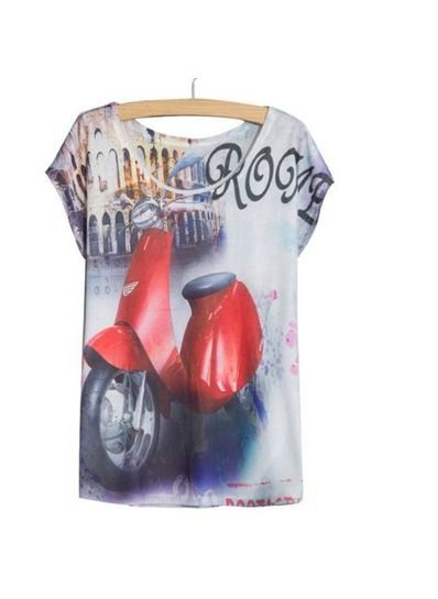 Stylish Scooter Printed Tee - KP001779
