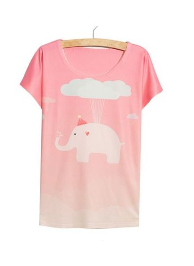 Pink Elephant Printed Tee - KP001780