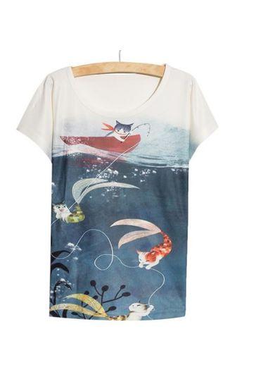 Swimming Cat Printed Tee - KP001785