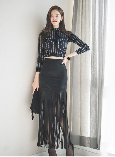 High Neck Top + Tassel Skirt - KP001829