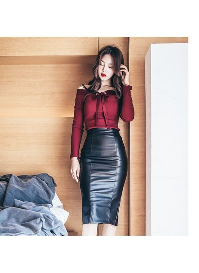 Boat Neck Top + Leather Skirt - KP001831