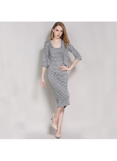 Stripped Two piece Dress + Coat - KP001841