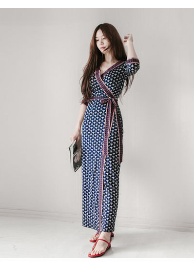 Elegant Printed Maxi Dress -KP001884