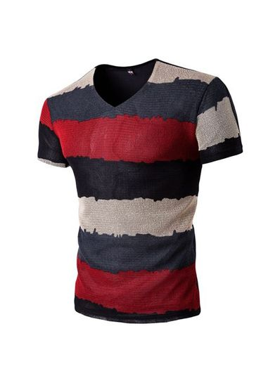 Colorful Stripes Casual Tee - KP001918