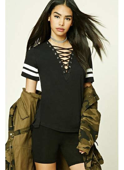 Hot Lace Up T Shirt - KP001958
